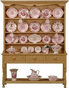 Medium dresser with Mulberry and Rose china