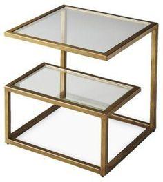 """Constance Bunching Table, Gold 15.75""""W x 15.75""""D x 18.25""""H $419 ** Esta se puede mandar a hacer en RD con acero inoxidable y cristal"""