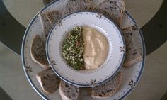 Olive bread with hummus and tabbouleh