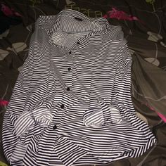 Collared top (striped) This top has blue and white stripes and a sleeve that you can wear all the way down or pin it three quarter length! Ann Taylor Tops Button Down Shirts