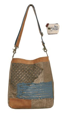 d5e2665dec Mona B Chiffon Patch Upcycled Canvas Tote Bag M-3902 with Coin Purse. Made