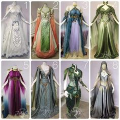 Beautiful elven/fairy dresses - great reference for original ideas! (Firefly Path) Beautiful elven/fairy dresses - great reference for original ideas! Fantasy Costumes, Cosplay Costumes, Fairy Costumes, Pretty Dresses, Beautiful Dresses, Beautiful Costumes, Elf Kostüm, Fantasy Gowns, Fairy Dress