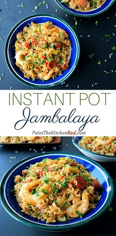 This Instant Pot Jambalaya was adapted from an authentic Creole Jambalaya recipe and has andouille sausage, chicken and shrimp combined with rice, is flavored with Cajun spices and cooked to perfection. From Paint the Kitchen Red #instantpot #jambalaya #creole #cajun