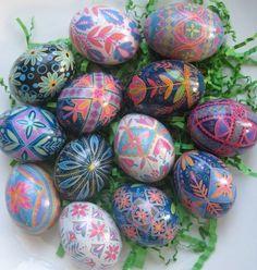 Blue Pysanka, batik egg on chicken egg shell, Ukrainian Easter egg, hand painted egg ornament. $22.95, via Etsy.