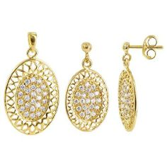 Gold Plated Oval Shaped Medallion Filigree and Pave Round Clear Cubic Zirconia Post Back Findings 13mm x 17mm Earrings and 17mm x 24mm Pendant Jewelry Set Gem Avenue. $15.99. Cubic Zirconia. Gem Avenue Sku # RUST067. 17 x 24mm Pendant. Gold Plated over Brass. 13 x 17mm Post Back Earrings