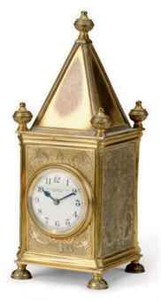 A GOTHIC REVIVAL GILT BRONZE CARRIAGE CLOCK  for Edward F. Caldwell & Co, New York, circa 1890
