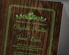 Green Vintage Barn Wood Wedding Invitation