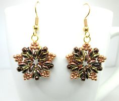 Bronze superduo star earrings, superduo earrings, autumn star, super duo earrings, star earrings, starburst earrings