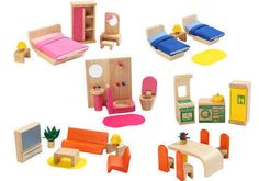 Voila Wooden Dolls House Furniture Set – 6 rooms New in Dolls, Bears, Houses, Miniatures, Furniture | eBay $94.95 + $9.95