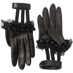Gucci Women Ruffled Leather Gloves W/ Wrist Strap ($595) ❤ liked on Polyvore featuring accessories, gloves, black, leather gloves, gucci, gucci gloves, real leather gloves and ruffle gloves