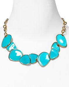 Blue Enamel Bib Chips Necklace / Kenneth Jay Lane