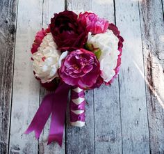 Fuchsia Ivory and Plum Peony Bouquet Silk Wedding by KateSaidYes
