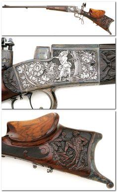 German schuetzen target rifle crafted by Emil Von Nordheim, late 19th century.
