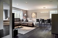 Use dark floorboards to create that 'wow' factor