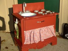 Can't fit a repurposed entertainment center play kitchen, this is a wonderful smaller solution! Play Kitchens, Kids Play Kitchen, Repurposed Wood, Repurposed Furniture, Kids Furniture, Make Day, Apartment Therapy, Diy For Kids, Gifts For Kids