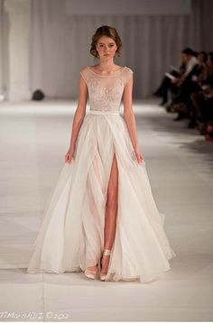 The way a dress can be long and elegant while showing a LOT of leg.