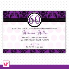 Custom Personalized Purple Violet Damask Adult Birthday Party Invitations 21st 30th 40th 50th 60th 70th 80th