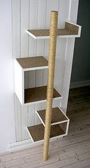'C' shelves, with sisal pole - takes up very little wall space Cat Climbing Tree, with link to construction pictures Cat Climbing Tree, Cat Climbing Shelves, Diy Cat Tree, Cat Towers, Cat Room, Cat Condo, Pet Furniture, Modern Cat Furniture, Space Cat