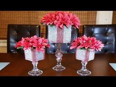 Glam Red and Silver Centerpiece. Hello my friends! On this video Im going to show you how to create a glam red and silver centerpiece. This centerpiece can be the perfect decor for any event, holidays like Christmas, valentines day or for home decor. Dollar Tree Centerpieces, Pink Wedding Centerpieces, Silver Centerpiece, Christmas Centerpieces, Floral Centerpieces, Christmas Decorations, Chandelier Centerpiece, Centerpiece Ideas, Pink Candle Holders