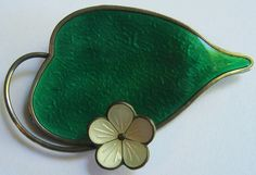 KARL RASMUSSEN NORWAY VINTAGE STERLING SHIMMER GREEN ENAMEL LEAF & FLOWER PIN