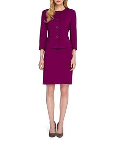 Petite 2-Piece Turnlock Button Skirt Suit   Lord and Taylor