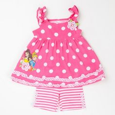Toddler Girls Two Piece Polka Dot Princess Top and Short Set - Girls Character Apparel - Events