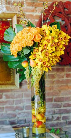 Orchids, Roses, and Apples Centerpiece