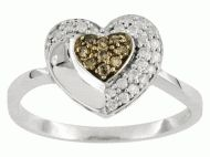 Price $183.59 - Free Priority Mail  Champagne and white diamond .25ctw round 10k white gold heart ring, natural Champagne diamonds are untreated. Measures 38L x 116W. Petite Ring - Lots Of Flash And Sparkle Ring is Size 7 Product InformationProduct Type Ring Width 116 inch Jewelry AttributesMetal Type Gold Metal Co...