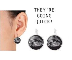 New Baby Sonogram Silver Plated Earrings
