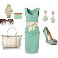 mint cocktail dress with wide belt/Japanese inspired,