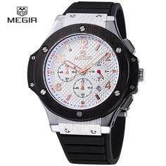 MEGIR Original Quartz Men Watch Big Dials Silicone Sports Military Watches Clock Men Chronograph Wristwatches Relogio Masculino