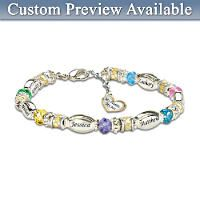 Child Name-Engraved Personalized Birthstone Bracelet For Mom: Forever In A Mothers Heart
