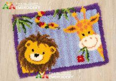 Latch Hook Rug Kits Lion and Giraffe DIY Needlework Unfinished Crocheting Rug Yarn Cushion Mat Home Decor Embroidery Carpet Rug