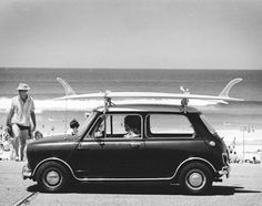 mini cooper & surfboard