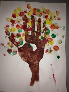 Fall tree hand print