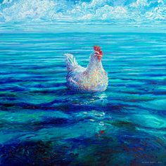Chicken of the Sea,an oil finger painting by Iris Scott