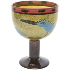 Signed Kosta Boda Hand-Painted Glass Vase/ Vessel/ Object/Sculpture /SALE | From a unique collection of antique and modern glass at https://www.1stdibs.com/furniture/dining-entertaining/glass/