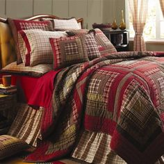 From the Lasting Impressions collection by VHC Brands, the Tacoma King Luxury Quilt features log cabin blocks in burgundy, brown, tan and green bordered offset with deep red border. Perfect for your c