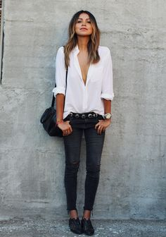 Distressed dark denim button down shirt with black oxfords  Could use any color button down shirt and a scarf for different looks