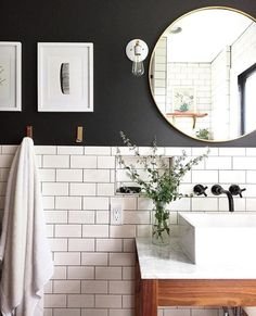 Love there white subway tile and black wall paint for a small bathroom Classic bathroom. Love there white subway tile and black wall paint for a small bathroom Bathroom Renos, Bathroom Renovations, Bathroom Interior, Remodel Bathroom, Bathroom Mirrors, Bathroom Cabinets, Bathroom Black, Bathroom Things, Restroom Cabinets
