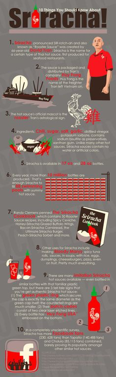 Sriracha by infographicsposters: 'A hot sauce made from special bright red chili peppers which make its flavor extremely addictive, unique and versatile.' I LOVE Sriracha Sriracha Sauce, Spicy Sauce, Seafood Restaurant, Restaurant Week, Spicy Recipes, Sriracha Recipes, Things To Know, Food For Thought, Food Hacks