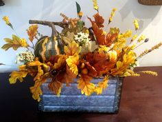 Metal Planter - Green Pumpkins Green Pumpkin, Metal Planters, Oak Leaves, Green And Orange, Pumpkins, Artisan, Fall, Crafts, Collection