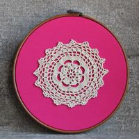 Shabby Chic Doily Art Pink Beige Lace Vintage Embroidery Hoop Wall Decoration