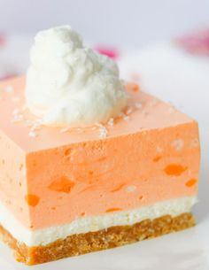 Orange Creamsicle Dream Bars - the perfect NO BAKE summer dessert! Taste buds will love the sugar cone crust, cheesecake layer, and orange cream topping! Mini Desserts, No Bake Summer Desserts, Healthy Fruit Desserts, Indian Desserts, Chocolate Desserts, Easy Desserts, Delicious Desserts, Summer Deserts, Desserts Keto
