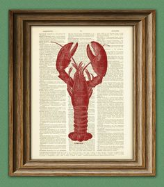 RED LOBSTER Art Print beautifully upcycled vintage by collageOrama