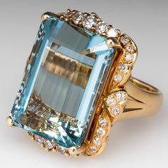 VINTAGE AQUAMARINE DIAMOND COCKTAIL RING 14K GOLD