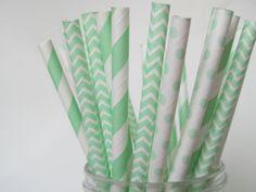 Mint Green Paper Straw Mix-Striped Paper Straws-Chevron Straw-Polka Dot Straws-Wedding Paper Straws-Mason Jar Straw-Birthday Party Straws