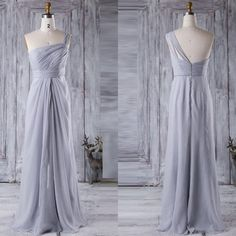 One shoulder silver long chiffon bridesmaid dress