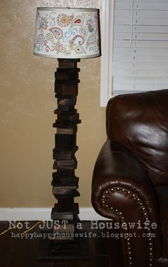 love the hand painted shade on this scrap wood lamp www.notjustahousewife.net
