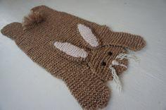 Flat beige / brown rabbit / bunny blanket / mat / bed